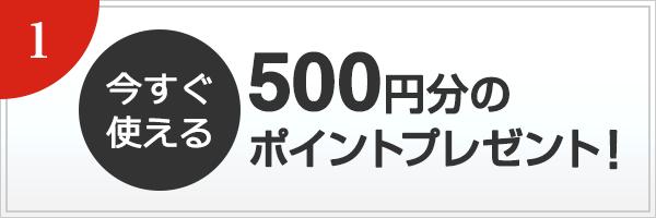 今すぐ使える 500円分のポイントプレゼント!