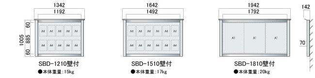アルミ屋外掲示板 スカイボード SBD 壁付タイプ(SBD-1210/SBD-1510/SBD-1810)_N