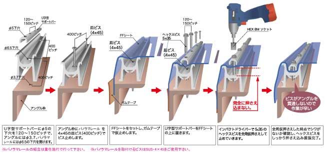パノラマレール用傘フレーム PR-K4025 L=4000mm(PR-K4025)_J