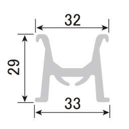 パノラマコーナーレール用パノラマレール PR-H29-4 L=4000mm(PR-H29-4)_A
