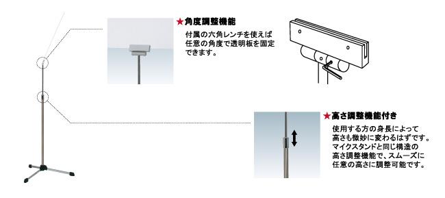 学校・塾・スピーチ用飛沫感染防止スタンド SGS-45(SGS-45)_s1