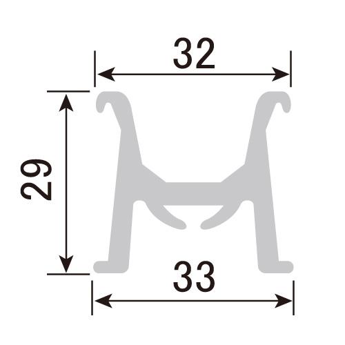 パノラマコーナーレール用パノラマレール PR-H29-4 L=4000mm(PR-H29-4)_2
